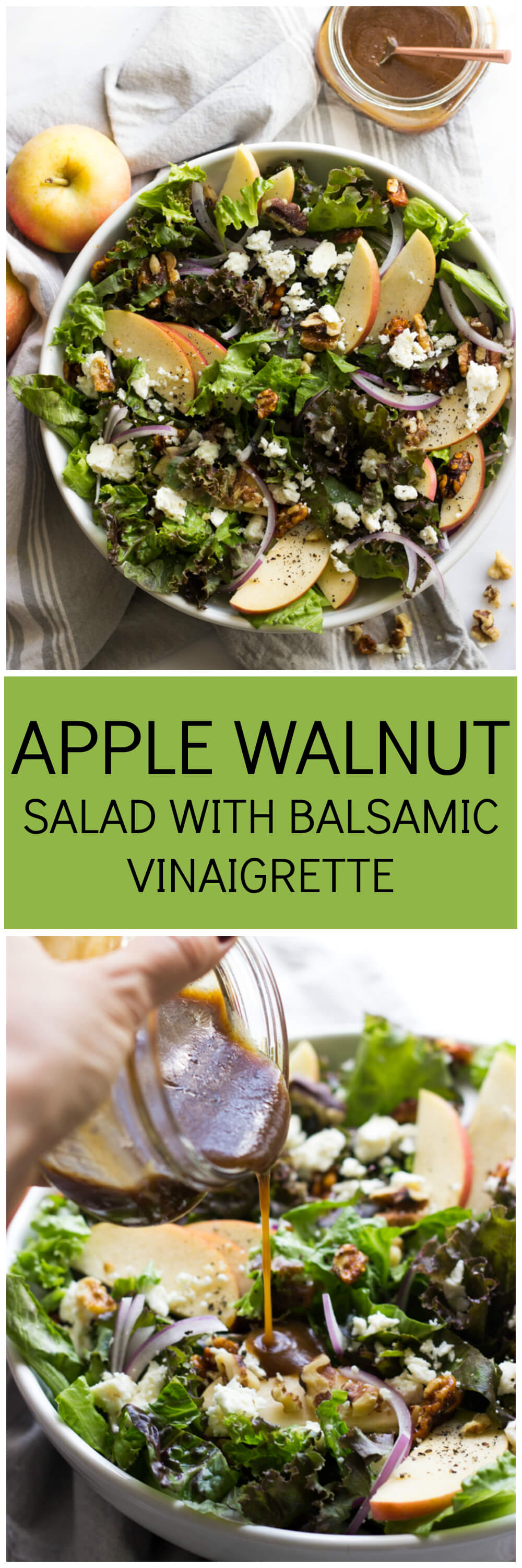 Apple Walnut Salad with Balsamic Vinaigrette - delicious autumn salad with pantry ingredients | littlebroken.com @littlebroken