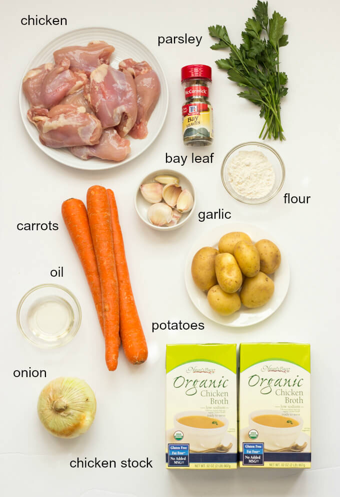 Ingredients for chicken stew recipe