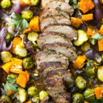 Oven Roasted Pork Tenderloin with Fall Vegetables - easy almost one pan dinner that comes together in about 30 minutes! | littlebroken.com @littlebroken