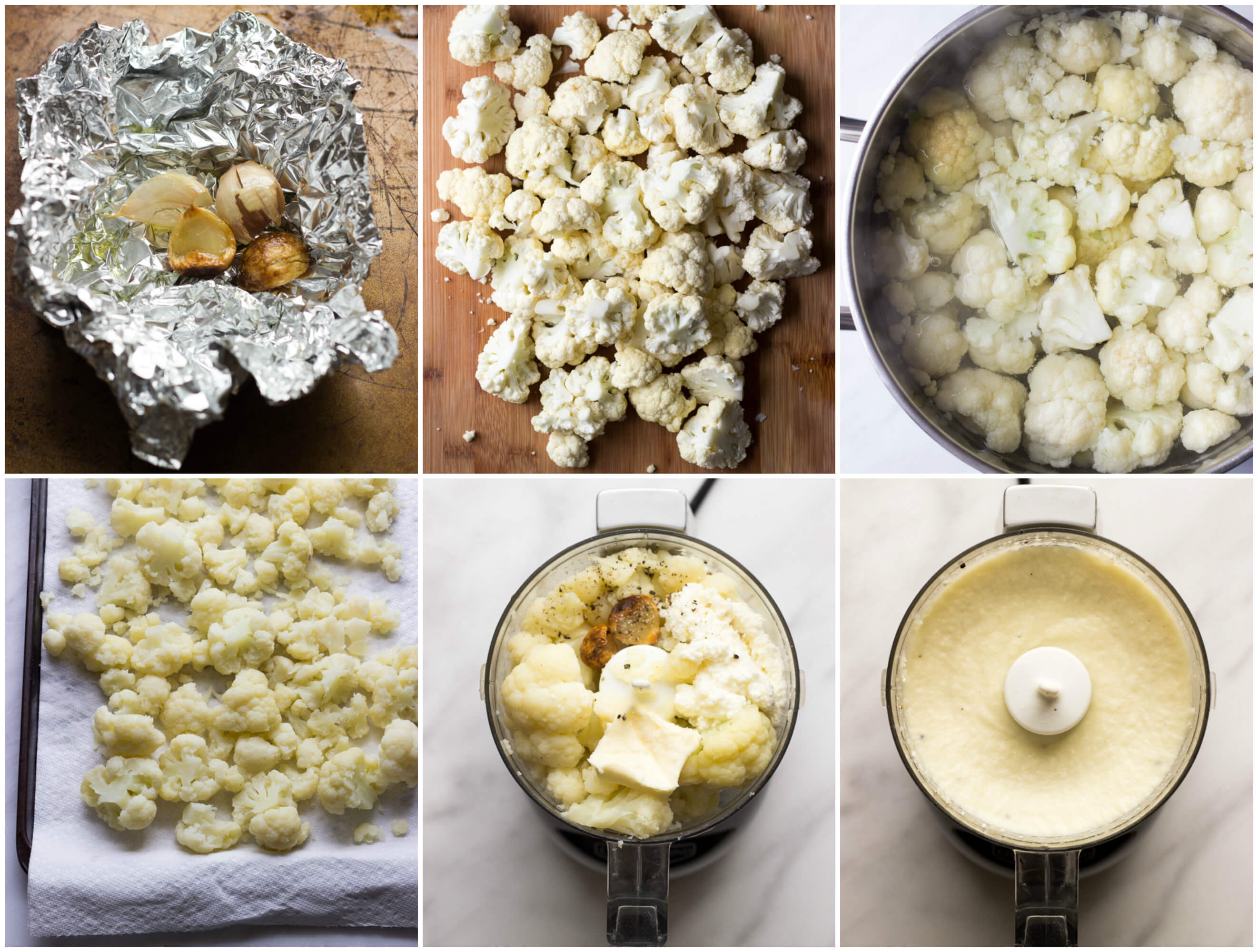 Cauliflower Mash with Ricotta and Roasted Garlic - tastes just like mashed potatoes but with fraction of the carbs! | littlebroken.com @littlebroken