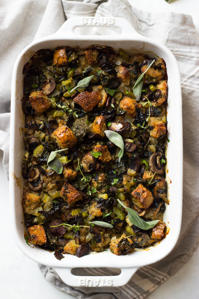Lighter Mushroom and Kale Stuffing - made with whole wheat bread, fraction of the butter, and way less bread than most stuffings! | littlebroken.com @littlebroken