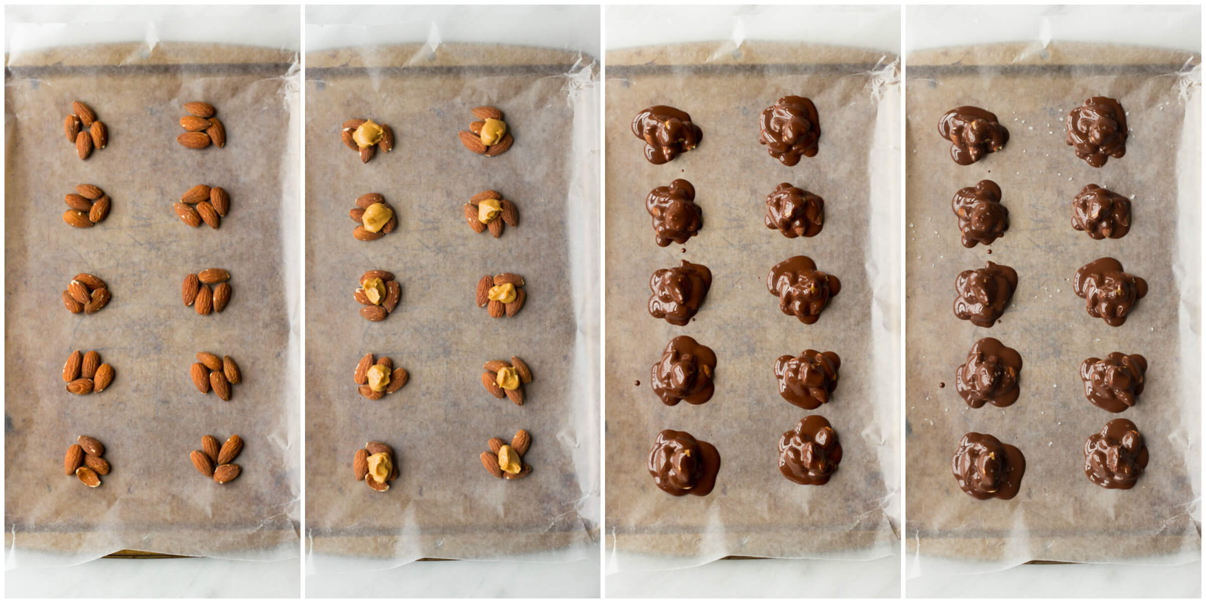 Peanut Butter and Chocolate Almond Clusters with Sea Salt - only 4 ingredients and no baking involved! | littlebroken.com @littlebroken