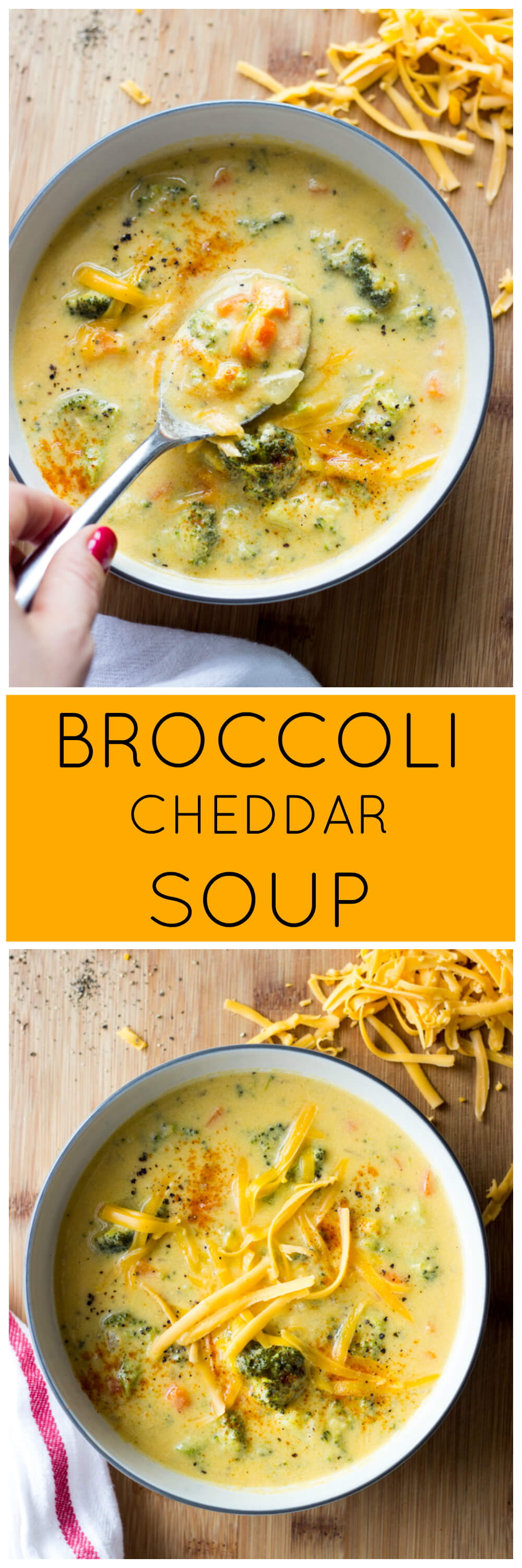 Broccoli Cheddar Soup - lightened up classic made with milk and olive oil. So creamy, rich and with fraction of the calories! | littlebroken.com @littlebroken