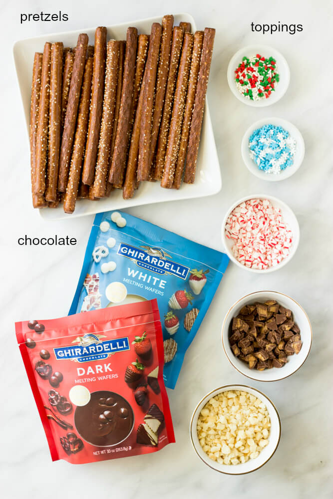 Christmas Chocolate Covered Pretzels - only 3 ingredients to make these super easy and festive holiday treats! | littlebroken.com @littlebroken