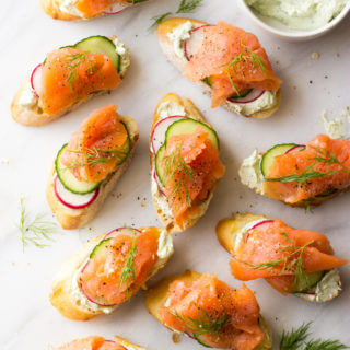 Smoked Salmon and Herb Cheese Crostini