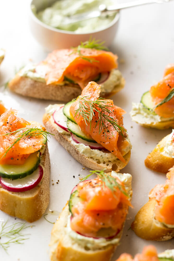 Smoked Salmon And Herb Cheese Crostini Little Broken