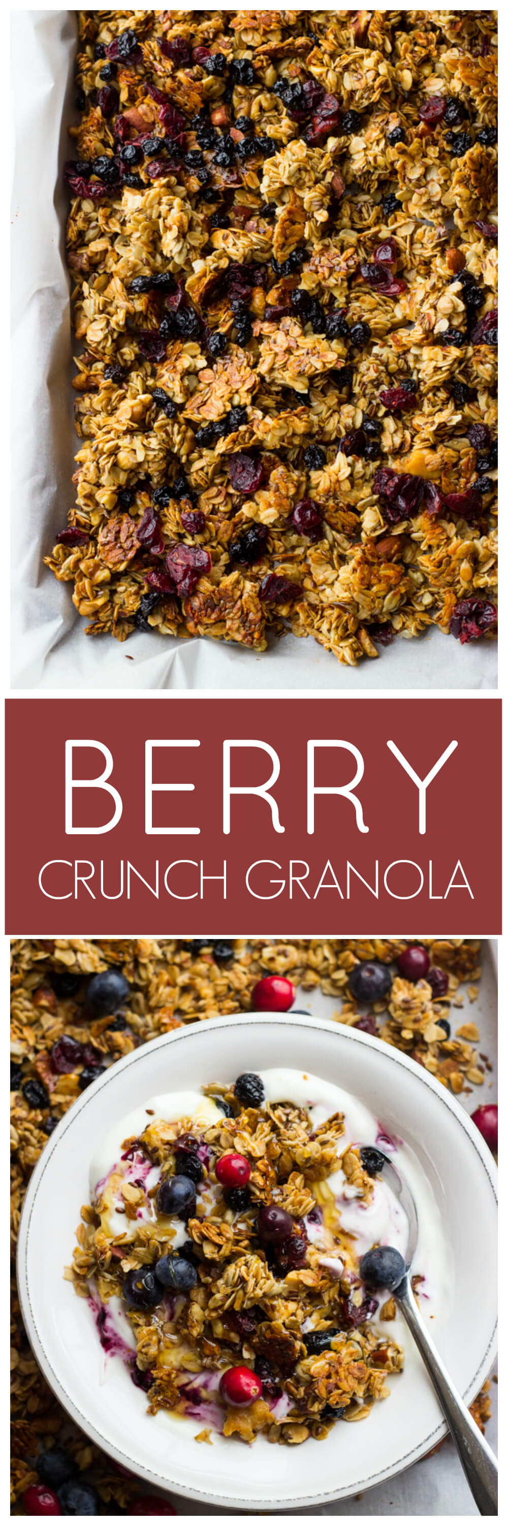 Berry Crunch Granola - simple, healthy, and lightly sweetened with honey | littlebroken.com @littlebroken