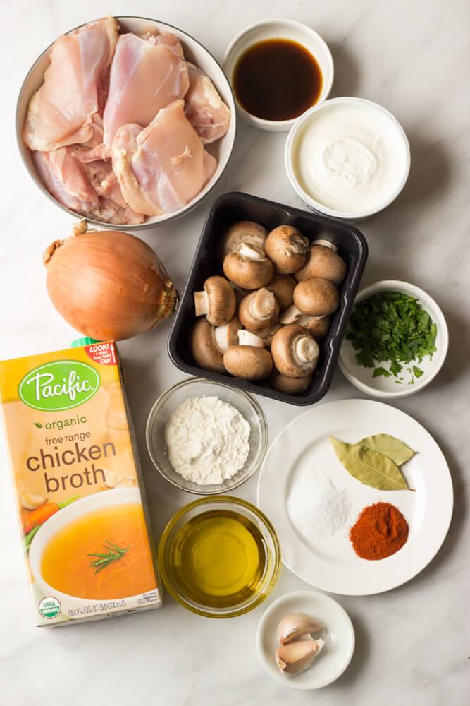 Chicken Stroganoff - tender chicken in a simple, yet flavorful sauce. Served over cauliflower mash for low-carb option. | littlebroken.com @littlebroken