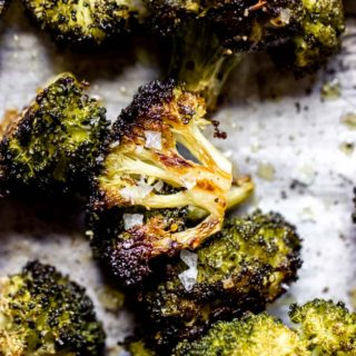 Close up baked broccoli
