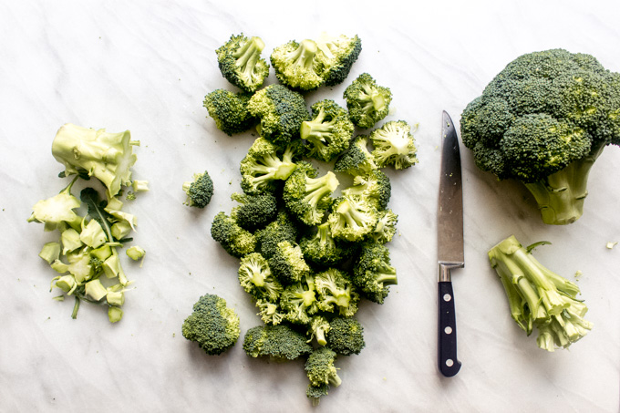 Broccoli florets on white background
