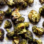 Overhead oven roasted broccoli