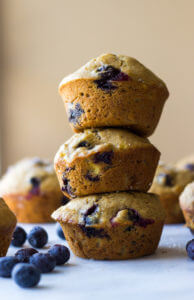 1-Bowl Blueberry Muffins - moist, tender, and bursting with flavor. These healthy muffins are made with no processed sugar and white whole wheat flour. | littlebroken.com @littlebroken