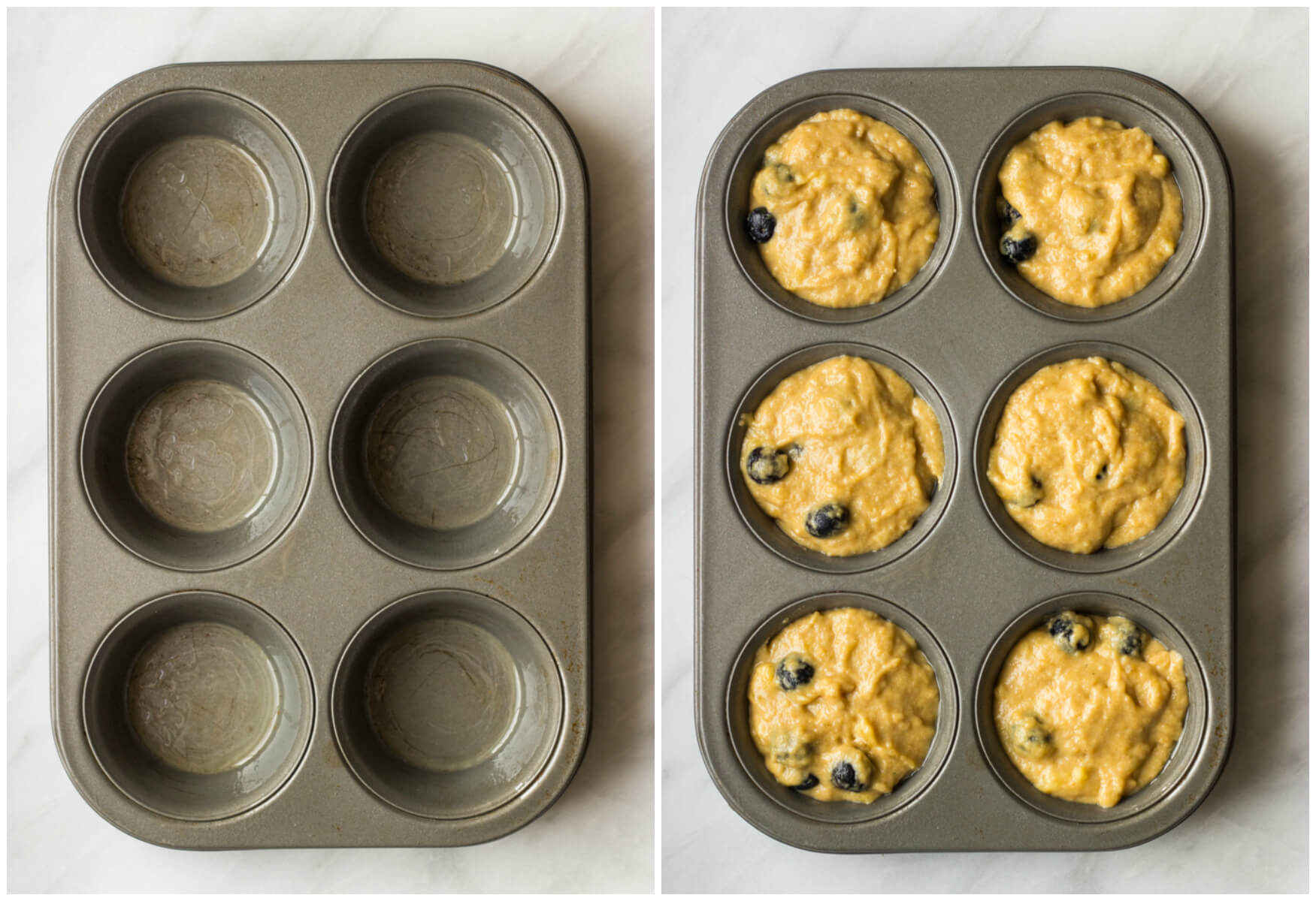 1-Bowl Blueberry Muffins - moist, tender, and bursting with flavor. These healthy muffins are made with no processed sugar and white whole wheat flour.   littlebroken.com @littlebroken