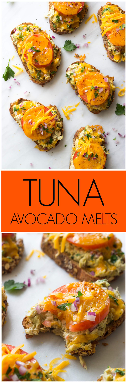 Tuna Avocado Melts - made with creamy avocado, whole grain bread, and wholesome cheddar cheese. 243 cal | littlebroken.com @littlebroken