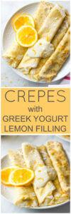 Blender Crepes with Greek Yogurt Lemon Filling - honey sweetened crepes made in a blender and served with healthy greek yogurt lemon filling | littlebroken.com @littlebroken