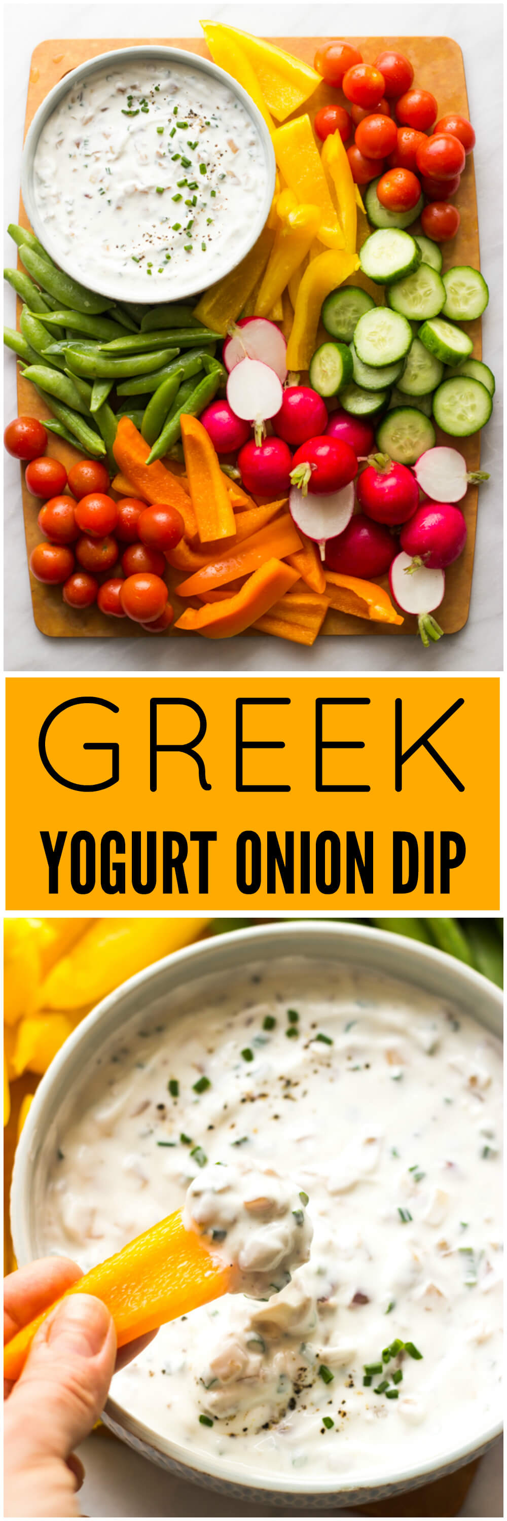 Greek Yogurt Onion Dip - healthy onion dip made with Greek yogurt, caramelized shallots, and chives. Only 66 cal per serving! | littlebroken.com @littlebroken