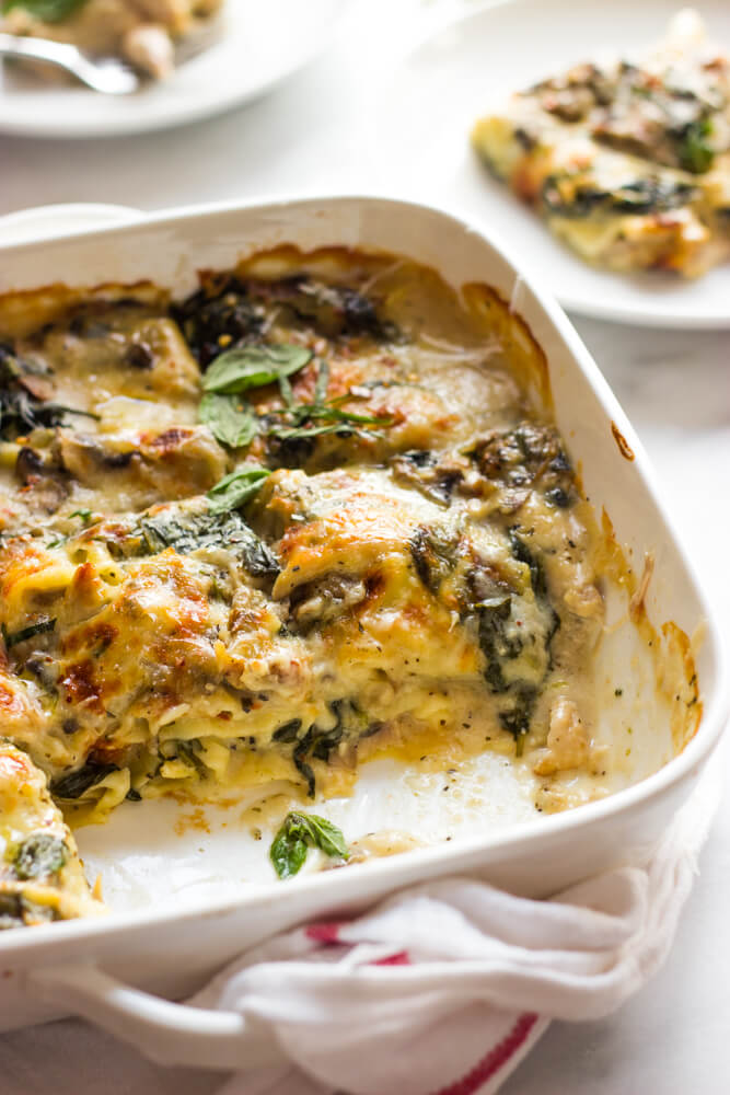 Chicken Mushroom and Spinach Lasagna - made with shredded chicken, fresh spinach, mushrooms, and light sauce