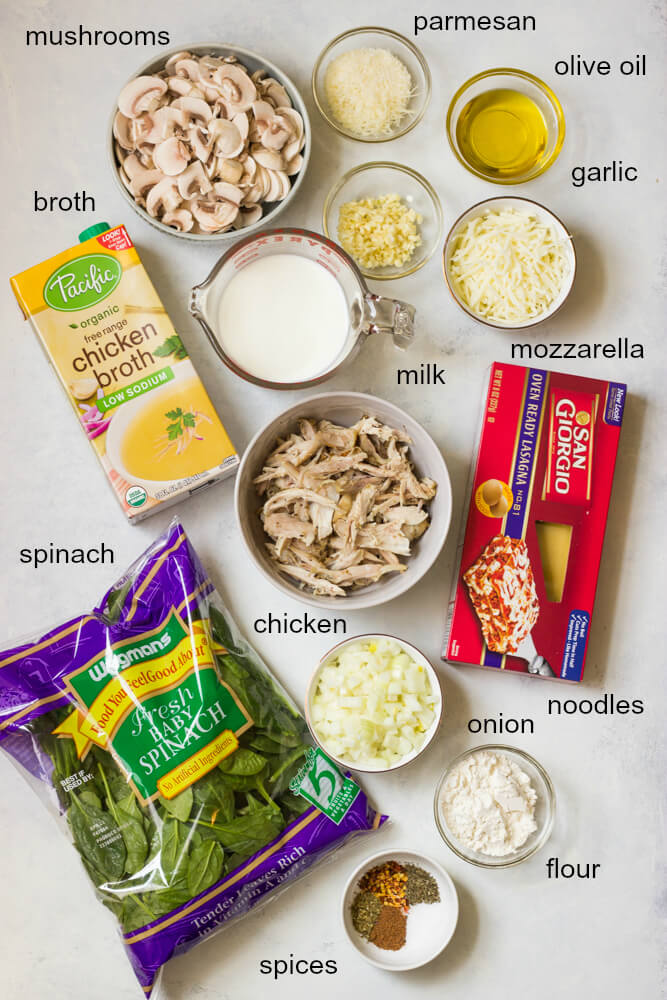Ingredients for chicken mushroom spinach lasagna