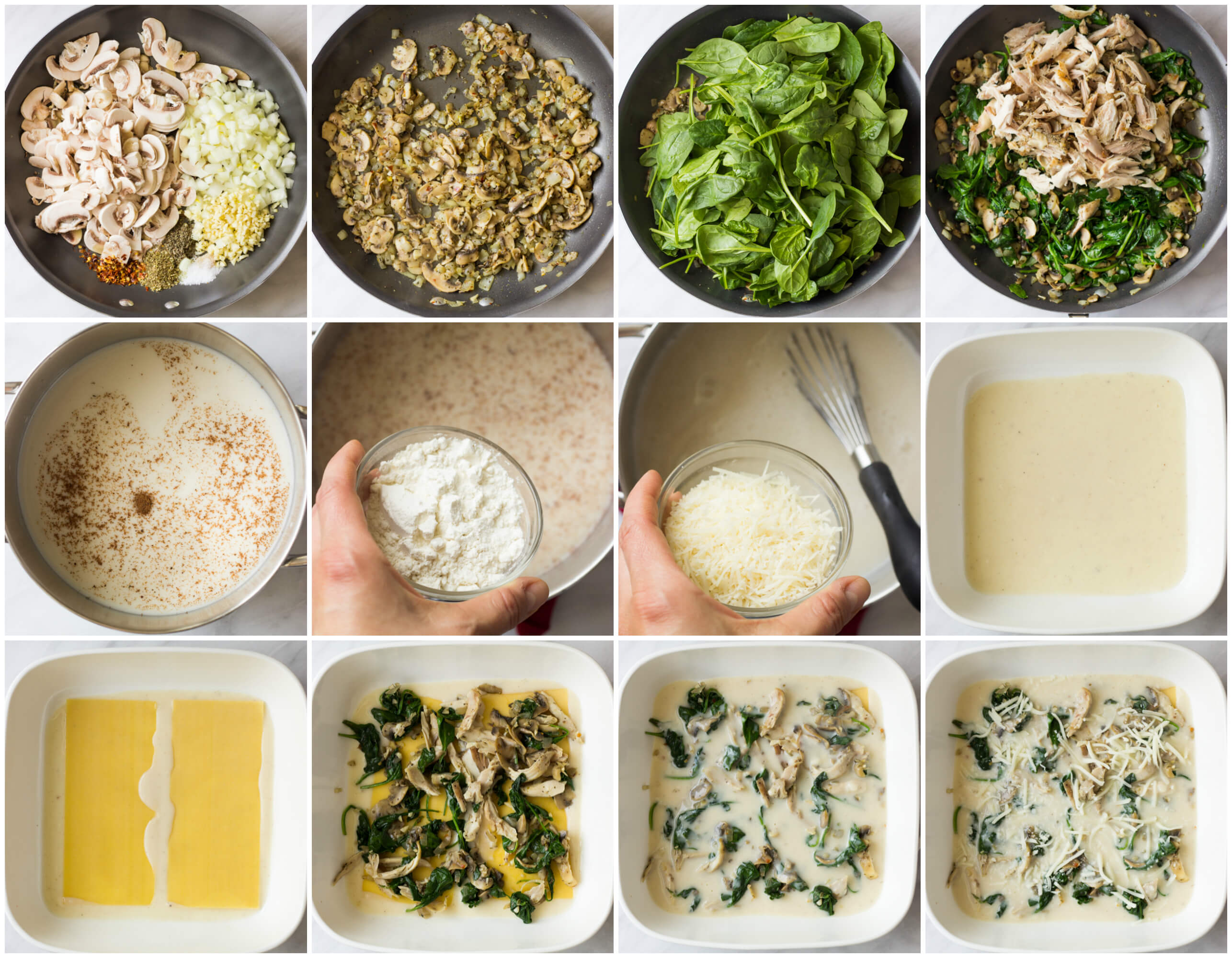 step by step instructions for chicken lasagna with mushrooms and spinach