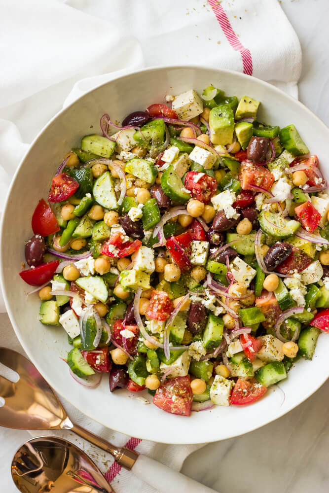 Chopped Greek Salad with Avocado - all the veggies, avocado, little ...