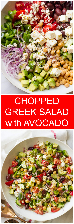 Chopped Greek Salad with Avocado - all the veggies, avocado, little bit of feta, and zestiest vinaigrette | littlebroken.com @littlebroken