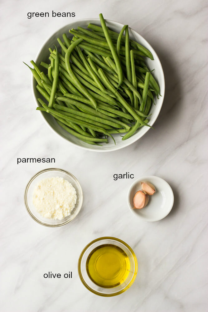 ingredients for roasted french green beans