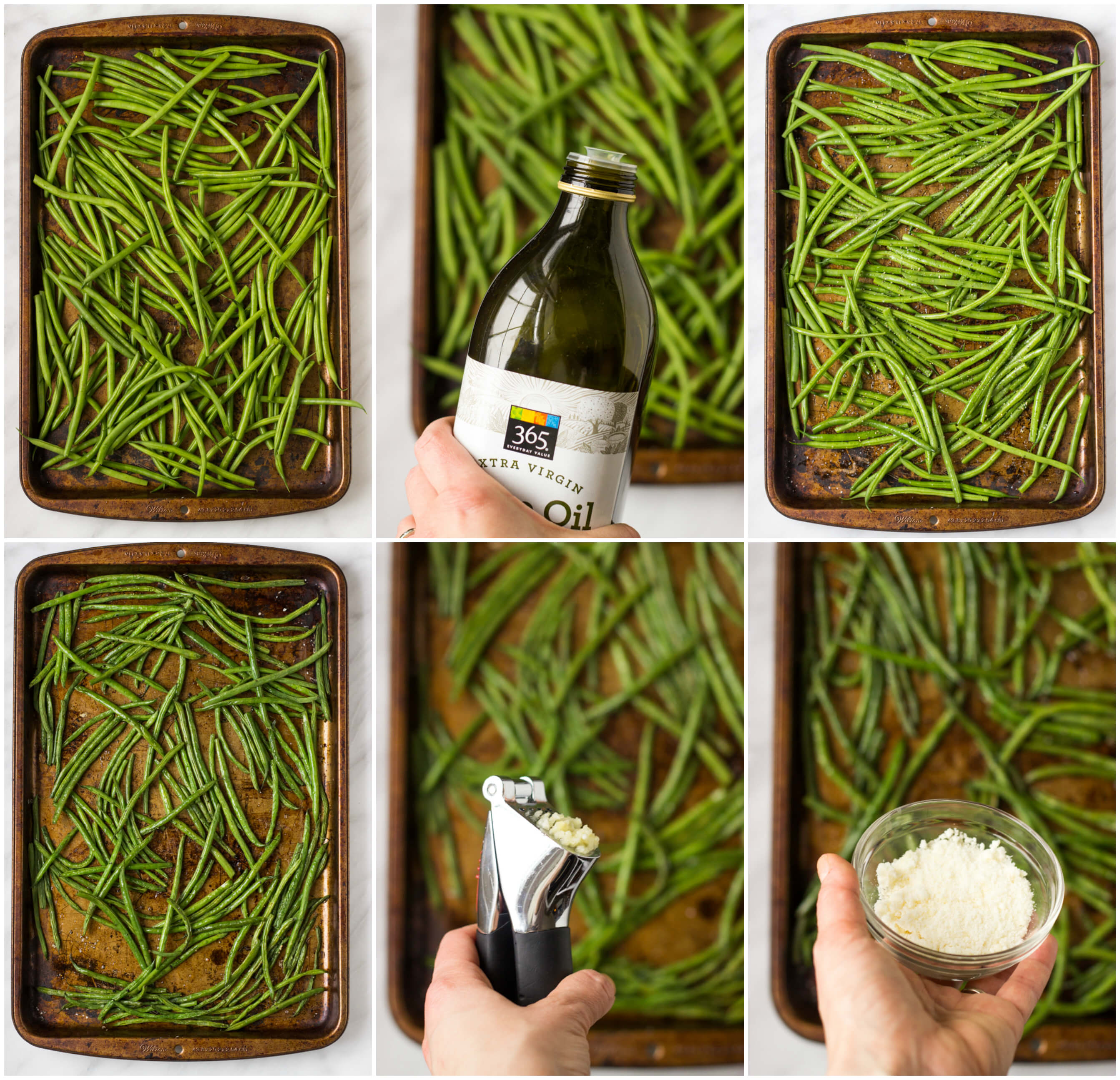 step by step on how to roast green beans