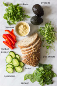 All Veggie Sandwich - crunchy, fresh and healthy! Made with only vegetables and creamy hummus avocado spread | littlebroken.com @littlebroken