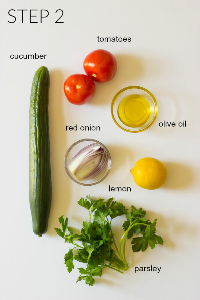 Ingredients for cucumber tomato salad