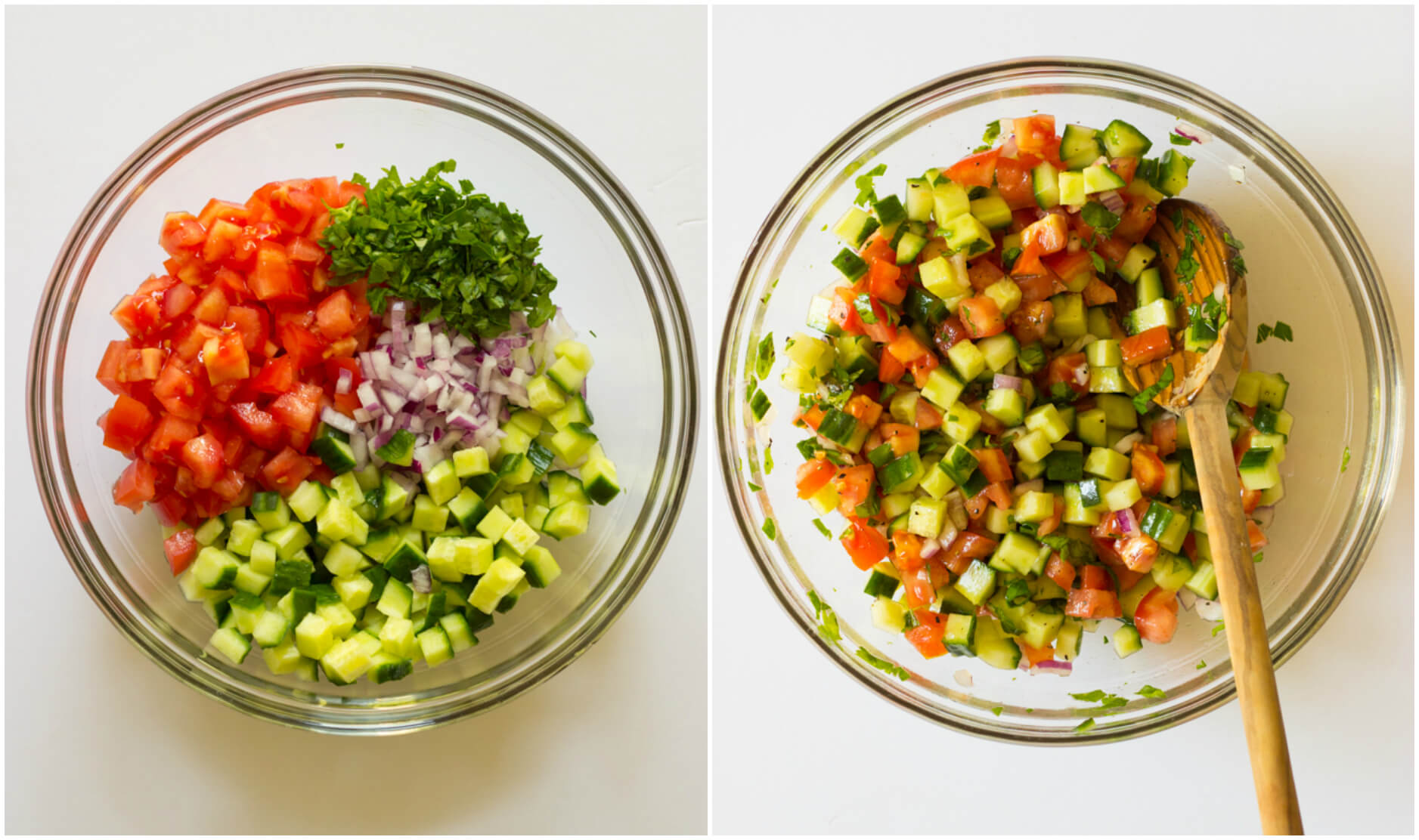 Chopped up cucumber tomato salad in glass bowl