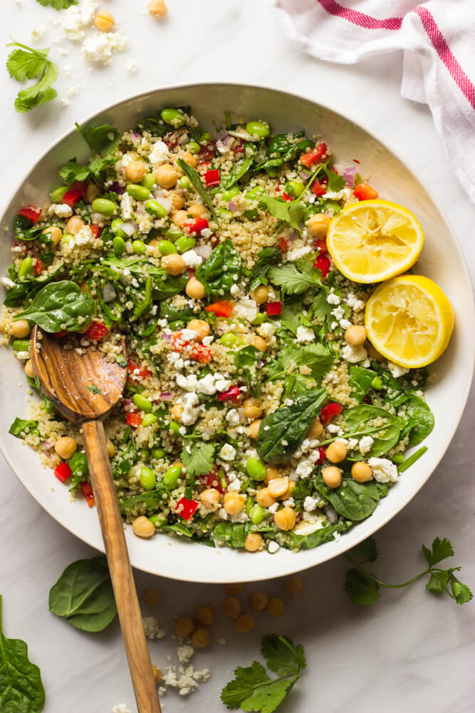 Quinoa Salad With Spinach And Feta Little Broken