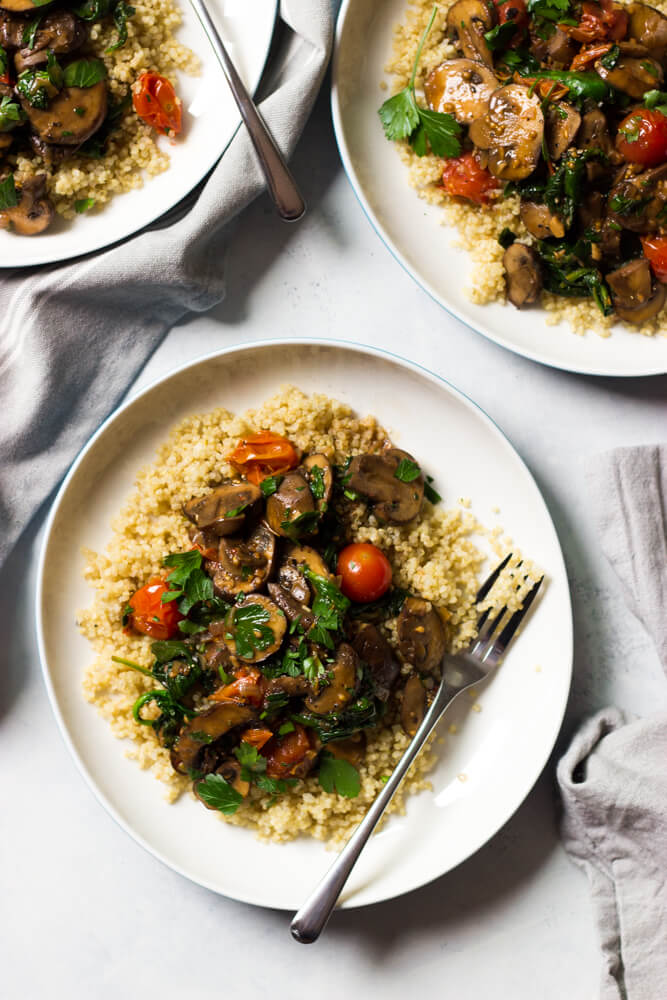 Veggie Marsala - easy meatless weeknight meal that is flavor packed thanks to Marsala wine, shallots, garlic, mushrooms, spinach, and tomatoes   littlebroken.com @littlebroken