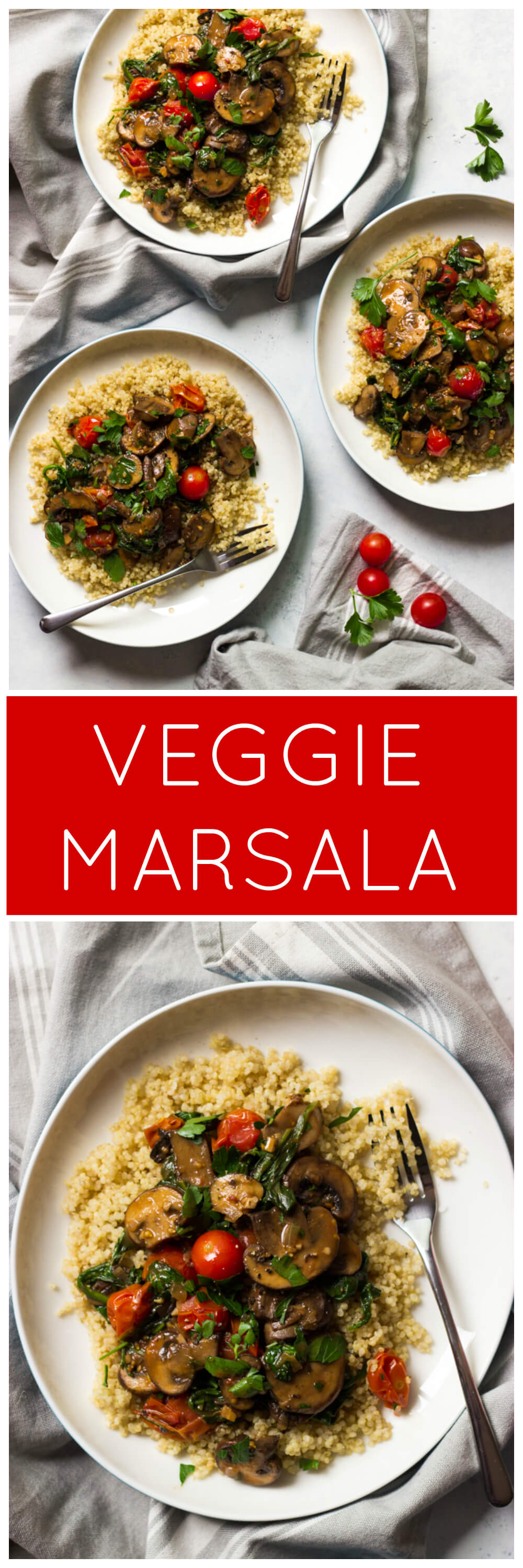 Veggie Marsala - easy meatless weeknight meal that is flavor packed thanks to Marsala wine, shallots, garlic, mushrooms, spinach, and tomatoes | littlebroken.com @littlebroken