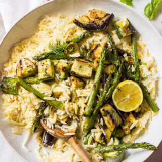 Creamy Orzo with Grilled Vegetables