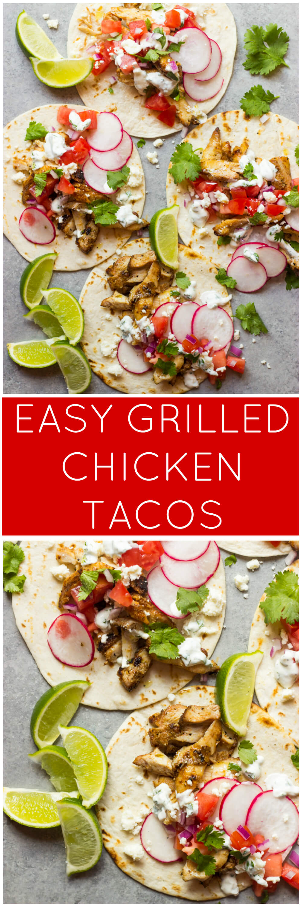 Easy Grilled Chicken Tacos - these tacos are made with thighs instead of breast, which makes them insanely juicy, flavorful, and they cook in fraction of time! | littlebroken.com @littlebroken