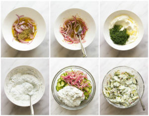 Greek Cucumber Salad - made with marinated onions and creamy Greek yogurt dressing. This simple summer side is insanely delicious and easy to make! | littlebroken.com @littlebroken