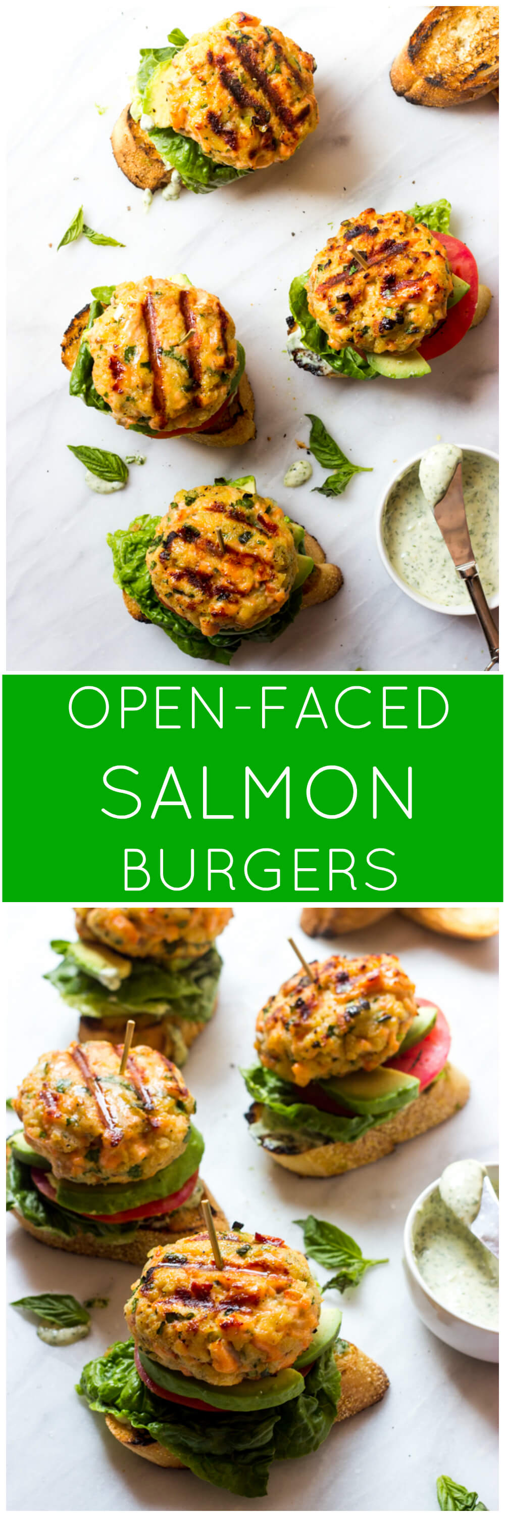 Open-Faced Salmon Burgers - made with fresh salmon and served on toasted baguette with tomato, lettuce, avocado, and basil mayo. These are healthy and quick to make! | littlebroken.com @littlebroken