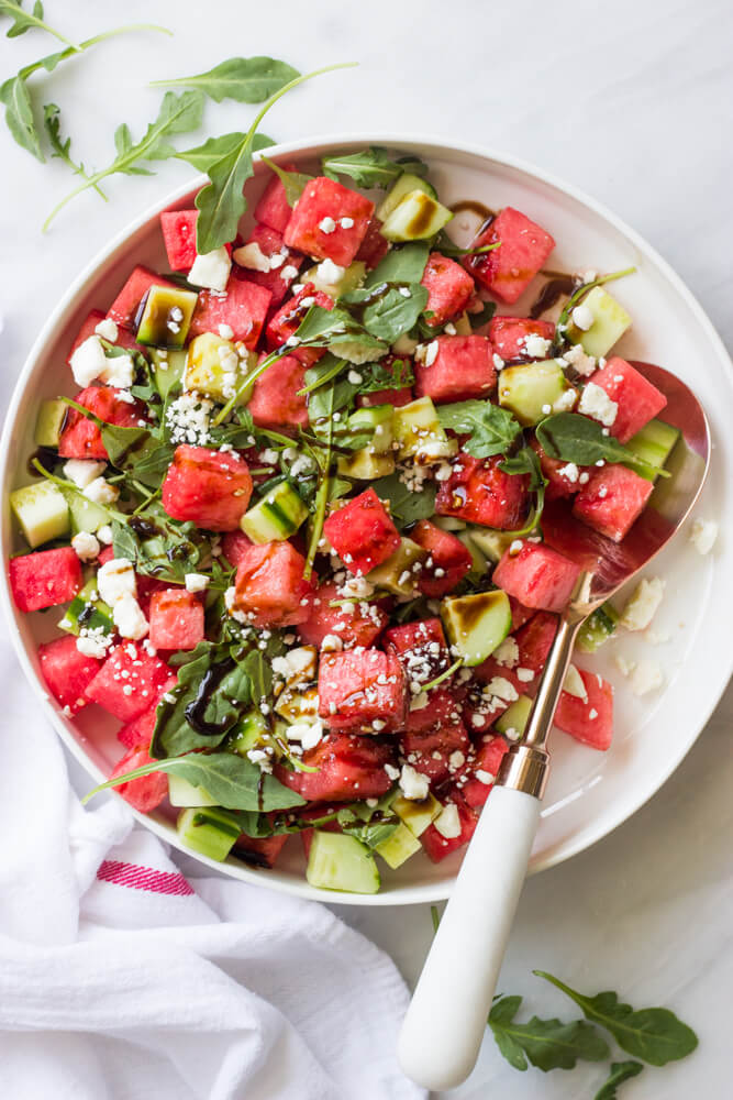 Watermelon Salad - light and refreshing salad with watermelon, cucumber, arugula, feta, and balsamic glaze | littlebroken.com @littlebroken