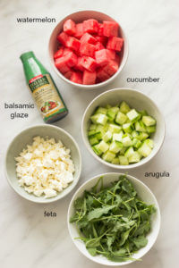 Watermelon Salad - light and refreshing salad with watermelon, cucumber, arugula, feta, and balsamic glaze | littlebroken.com @littlebroken