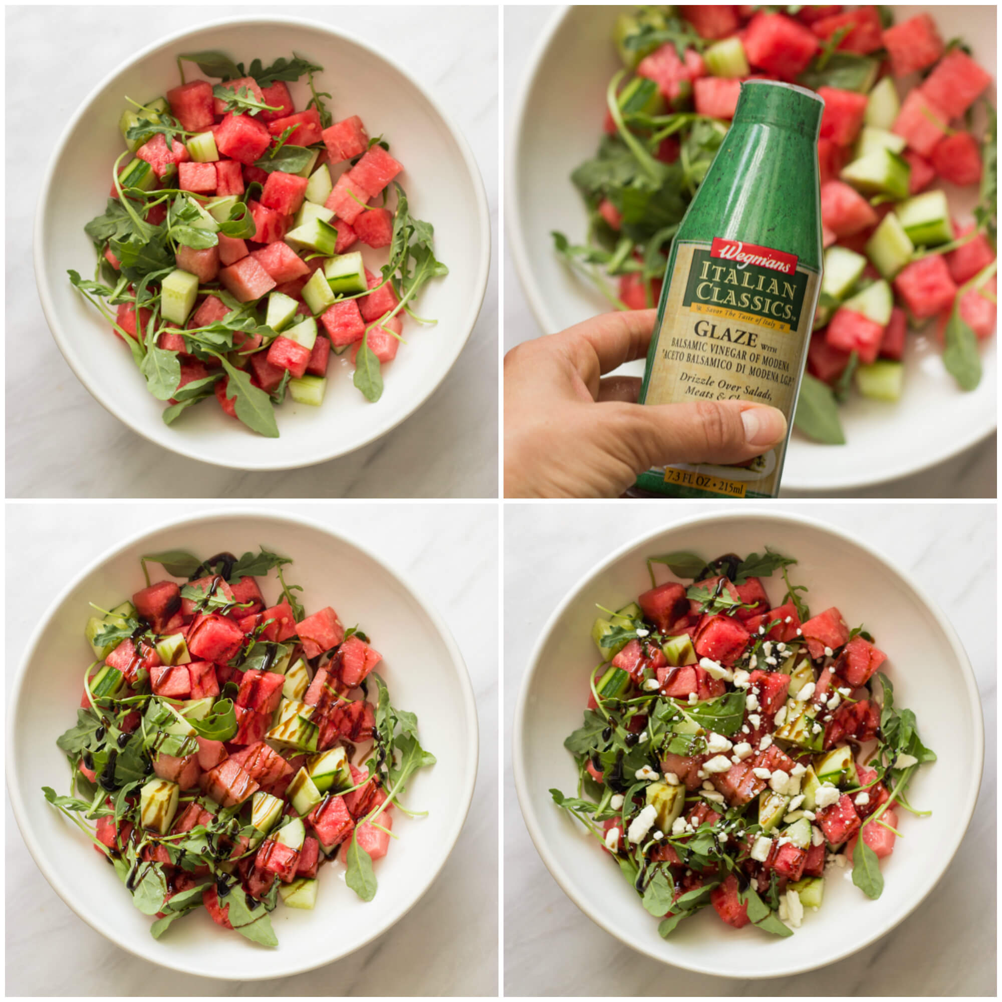step by step on how to make watermelon cucumber feta salad