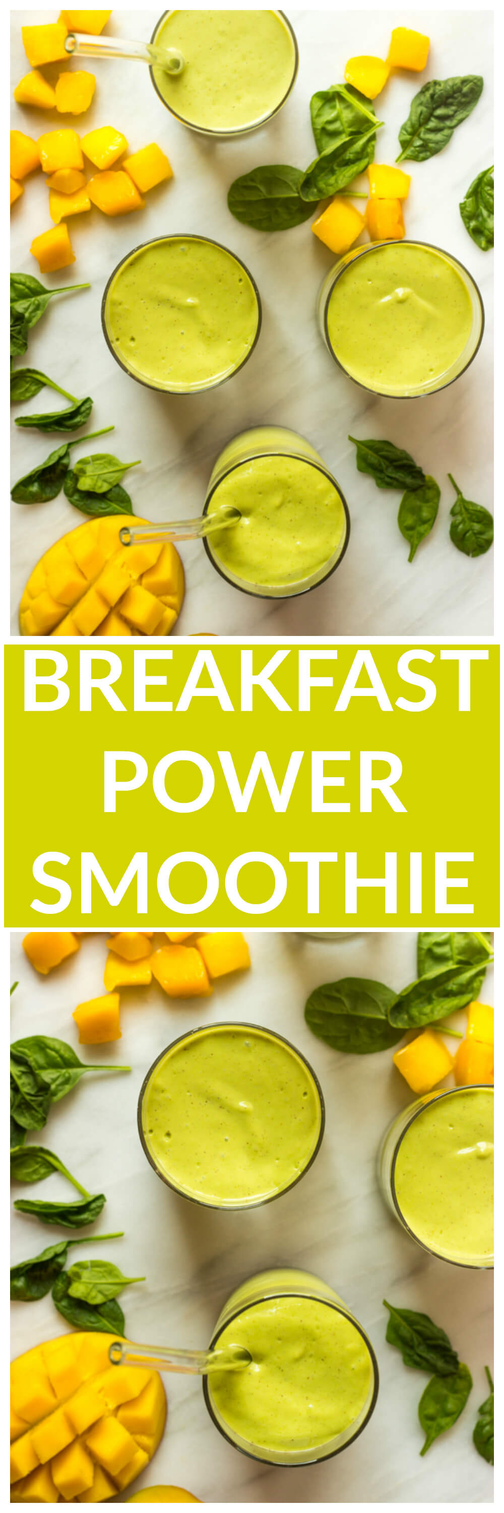 Breakfast Power Smoothie - perfect dose of greens, fruit, and creaminess! | littlebroken.com @littlebroken