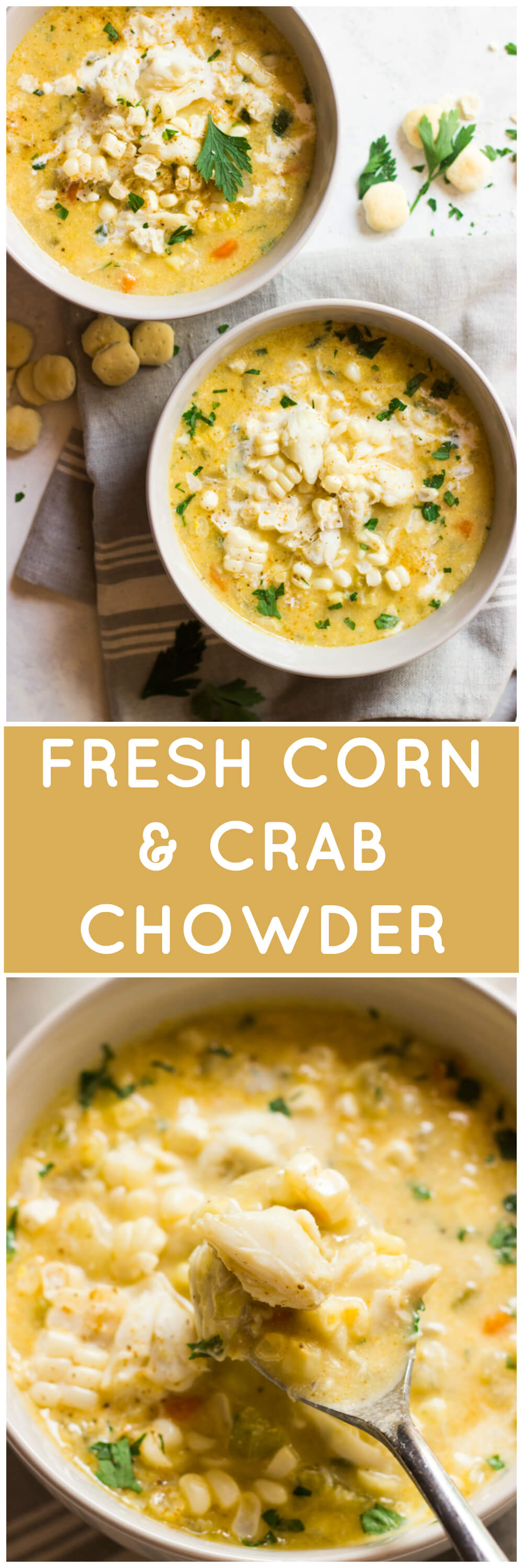 Fresh Corn and Crab Chowder - lightened up chowder with half and half, no flour, fresh sweet corn, and lump crab meat! It's a must have one-pot summer meal | littlebroken.com @littlebroken