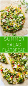 Summer Salad Flatbread - parmesan crusted flatbread topped with chopped summer salad, balsamic dressing, and shaved parmesan | littlebroken.com @littlebroken