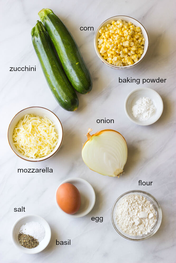 Ingredients for zucchini and corn fritters