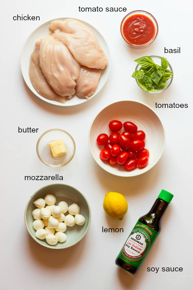 One Pan Balsamic Chicken - easy and flavorful chicken breast recipe baked in the oven with tomatoes, mozzarella, and basil | littlebroken.com @littlebroken