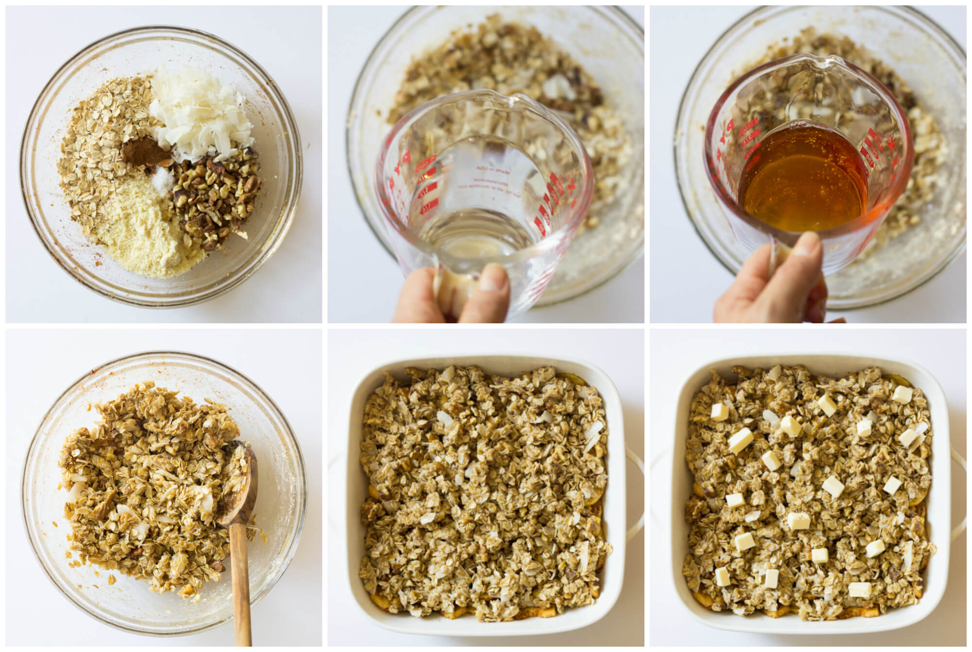 Apple Crisp with Coconut Oil and Honey - made with good ingredients such as coconut oil, honey, almond flour, and coconut flakes. | littlebroken.com @littlebroken