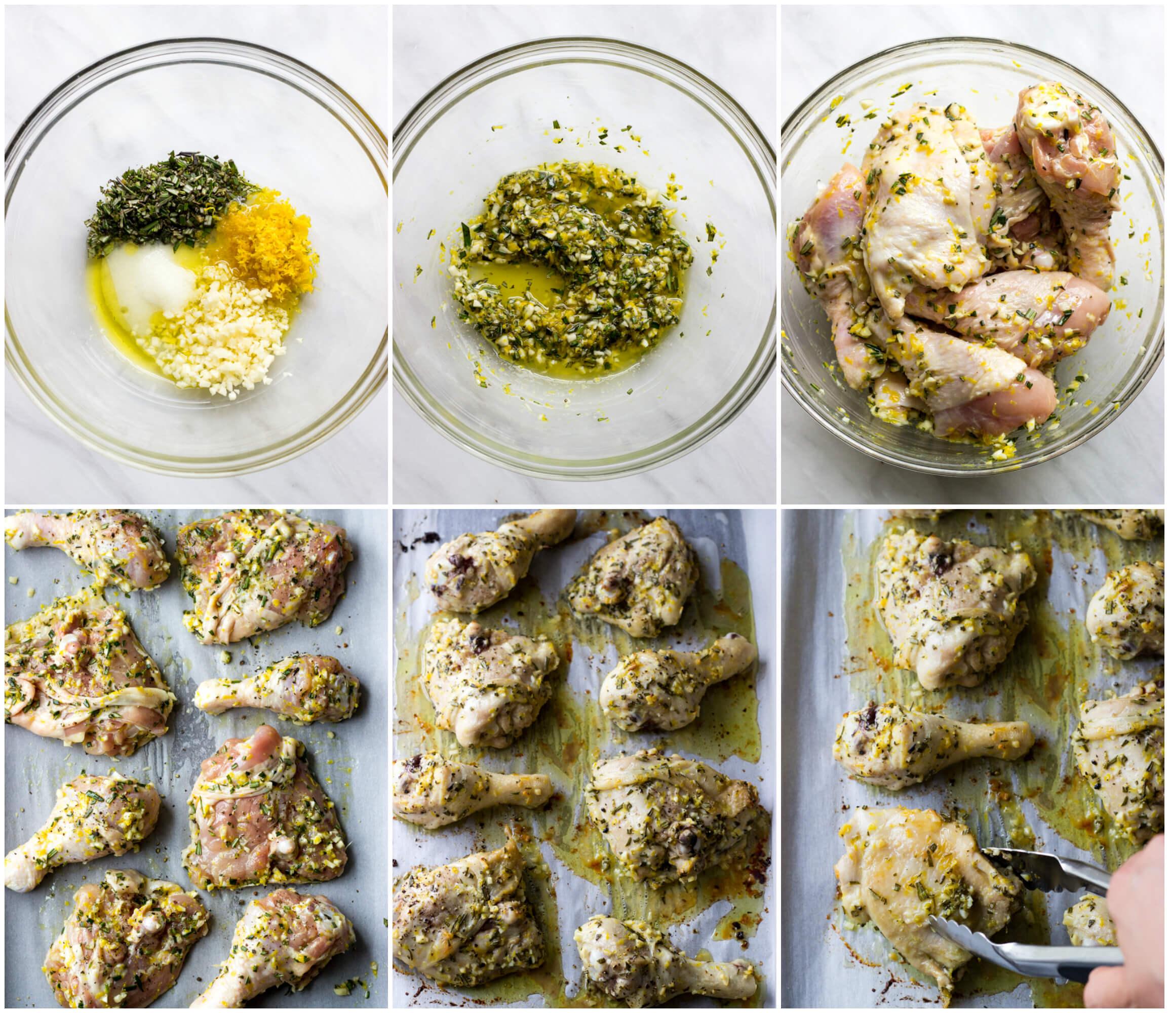 Roasted Lemon Rosemary Chicken - the best tasting oven baked chicken with few simple ingredients | littlebroken.com @littlebroken