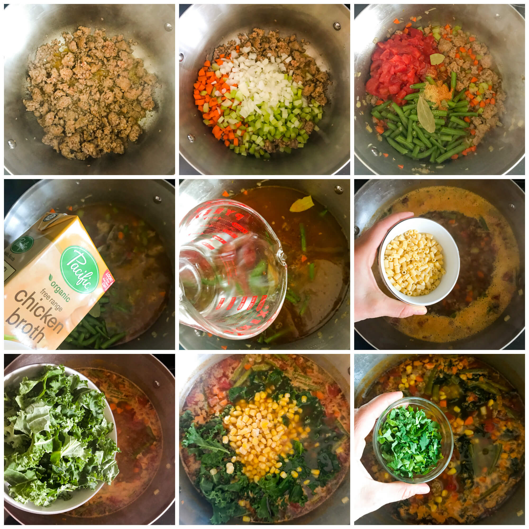 step by step on how to make sausage and kale soup recipe