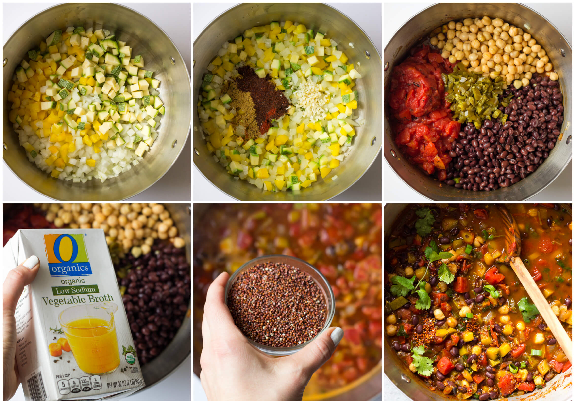 step by step on how to make vegetable chili with quinoa