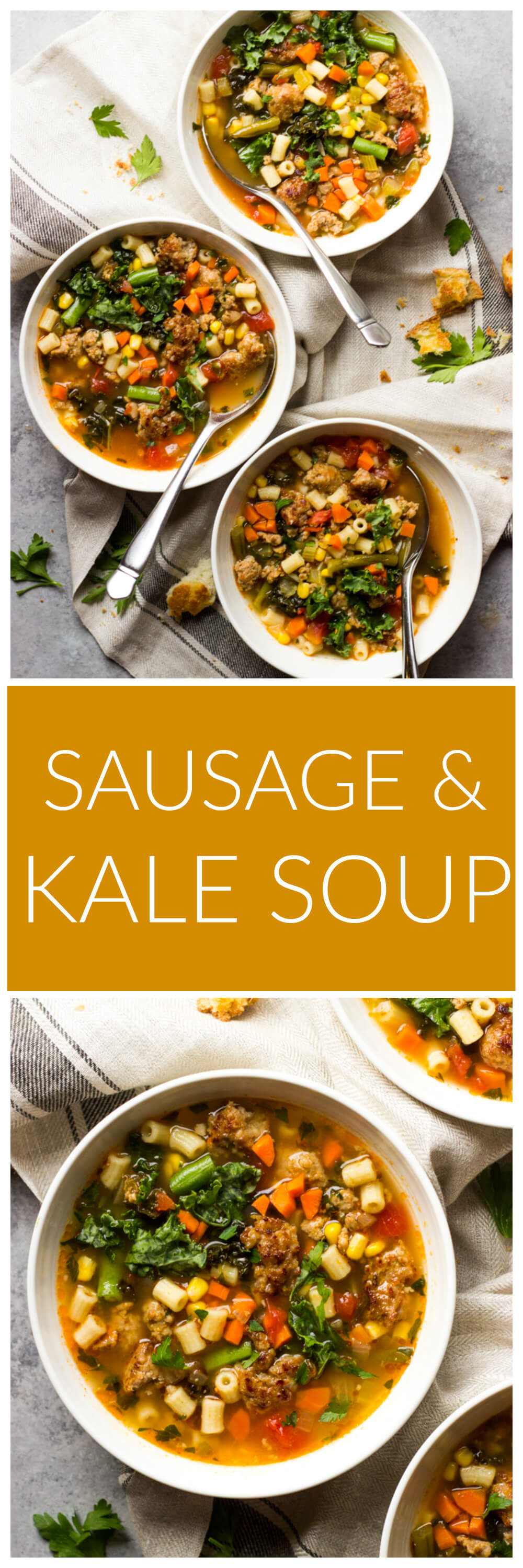 Sausage and Kale Soup - quick and easy soup with ton of veggies and the best seasoning! | littlebroken.com @littlebroken